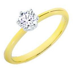 10k Yellow and White Gold 0.50ct Solitaire Ring