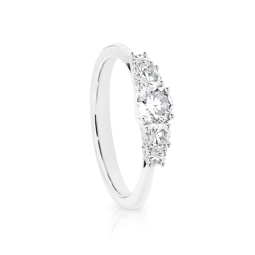 10k White Gold 5 Stone Ring