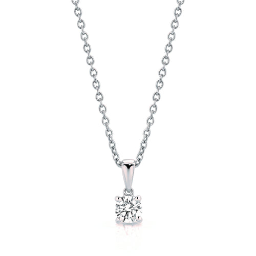 1/4 or 1/2 Carat Lab Grown Diamond Pendant with 9K White Gold Chain