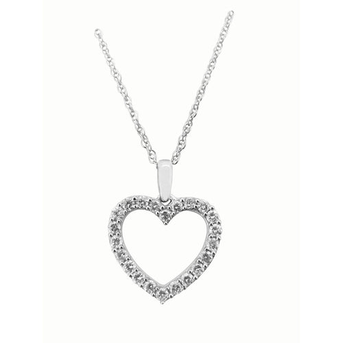 1/2ct  Heart Pendant with chain in Sterling Silver with 22 stones