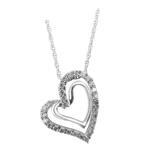 1/2ct Double Heart Pendant with chain in Sterling Silver with 29 stones