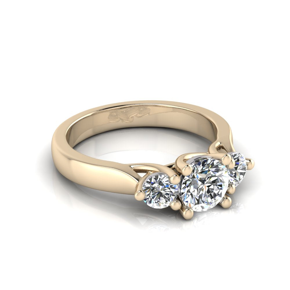 Trilogy diamond ring in Yellow Gold by Greenhouse diamonds
