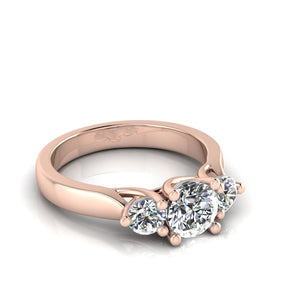 Trilogy diamond ring with rose gold by Greenhouse diamonds