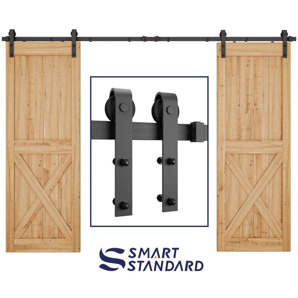 10ft Heavy Duty Sturdy Double Door Sliding Barn Door Hardware Kit - Smoothly and Quietly - Simple and Easy to Install -Includes Step-by-Step Installation Instruction -Fit 30