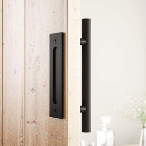 SmartStandard Pull and Flush Barn Door Handle Set Sliding Door Hardware Round Black Stainless Steel for Gate Cabinet