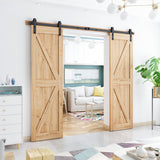 "8ft Heavy Duty Double Door Sliding Barn Door Hardware Kit -Smoothly and Quietly -Simple and Easy to Install -Includes Step-by-Step Installation Instruction - Fit 24"" Wide Door Panel (J Shape)"