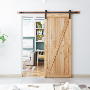 "SMARTSTANDARD 6.6ft Heavy Duty Sturdy Sliding Barn Door Hardware Kit - Smoothly and Quietly-Easy to install - Includes Step-By-Step Installation Instruction Fit 36""-40"" Wide Door Panel(I Shape Hanger)"