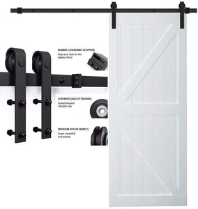 "SMARTSTANDARD 5FT Heavy Duty Sturdy Sliding Barn Door Hardware Kit Single Track Rail, Super Smoothly and Quietly, Simple and Easy to Install Fit 30"" Wide DoorPanel (J Shape Hanger)"