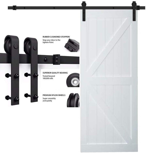 SMARTSTANDARD 5FT Heavy Duty Sturdy Sliding Barn Door Hardware Kit Single Track Rail, Super Smoothly and Quietly, Simple and Easy to Install Fit 30