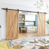 "SMARTSTANDARD 13FT Double Gate Heavy Duty Sliding Barn Door Hardware Kit Two-Piece Track Rail, Black, Super Smoothly & Quietly, Simple & Easy to Install Fit 36""-40"" Wide DoorPanel (J Shape Hangers)"