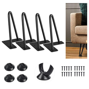 "SMARTSTANDARD 6"" Heavy Duty Hairpin Furniture Legs, Metal Home DIY Projects for TV Stand,Sofa Side Table,etc with Bonus Rubber Floor Protectors Black 4PCS"