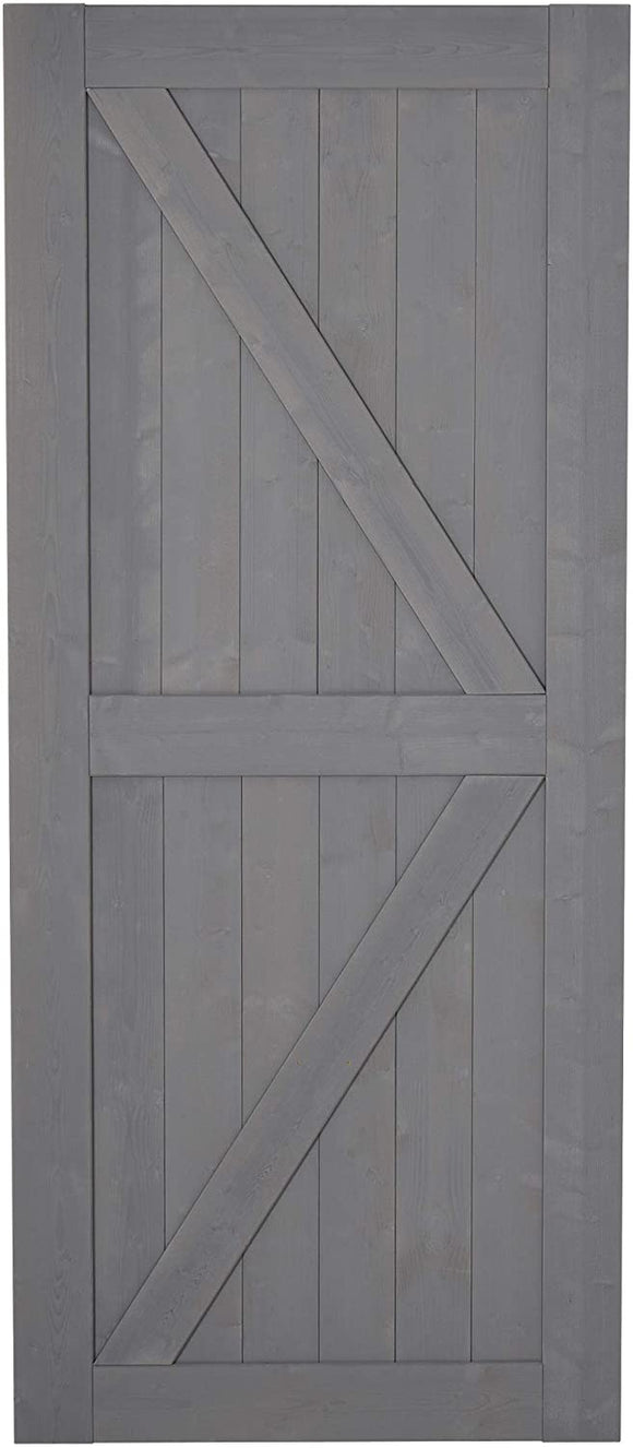 SmartStandard 7' H x 3' W Sturdy Sliding Barn Door, Unfinished Solid Spruce Wood Frame with Pre-Drilled Holes, Grey