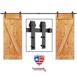 "SMARTSTANDARD 12ft Heavy Duty Double Door Sliding Barn Door Hardware Kit - Smoothly and Quietly -Easy to install -Includes Step-By-Step Installation Instruction Fit 36"" Wide Door Panel(J Shape Hanger)"