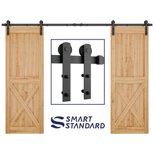 "10ft Heavy Duty Double Door Sliding Barn Door Hardware Kit - Fit 30"" Wide Door Panel(I Shape)"