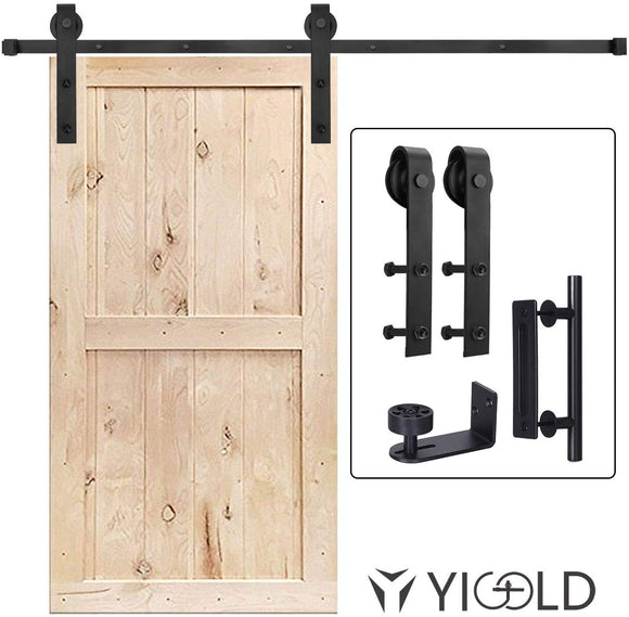 8 FT Heavy Duty Sturdy Sliding Barn Door Hardware Kit, 8ft Single Rail, Black, (Whole Set Includes 1x Pull Handle Set & 1x Floor Guide) Fit 42