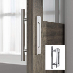 SmartStandard Pull and Flush Barn Door Handle Set Sliding Door Hardware Round Silver Stainless Steel for Gate Cabinet