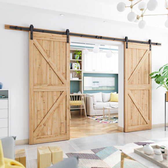 SMARTSTANDARD 12ft Heavy Duty Double Door Sliding Barn Door Hardware Kit - Smoothly and Quietly -Easy to install -Includes Step-By-Step Installation Instruction Fit 36