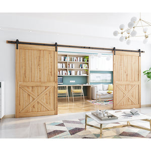 "SmartStandard 16ft Double Door Sliding Barn Door Hardware Kit- Super Smoothly and Quietly - Simple and Easy to Install - Includes Step-by-Step Installation Instruction - Fit 40""- 48'' Wide Door Panel"