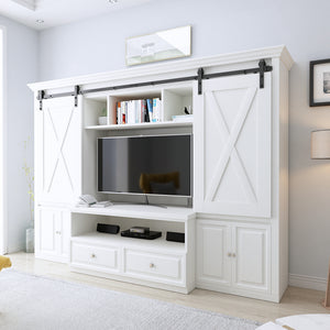 "8ft Double Door Cabinet Barn Door Hardware Kit- Mini Sliding Door Hardware - for Cabinet TV Stand - Simple and Easy to Install - Fit 24"" Wide Door Panel (Cabinet NOT Included) (Mini J Shape Hangers)"