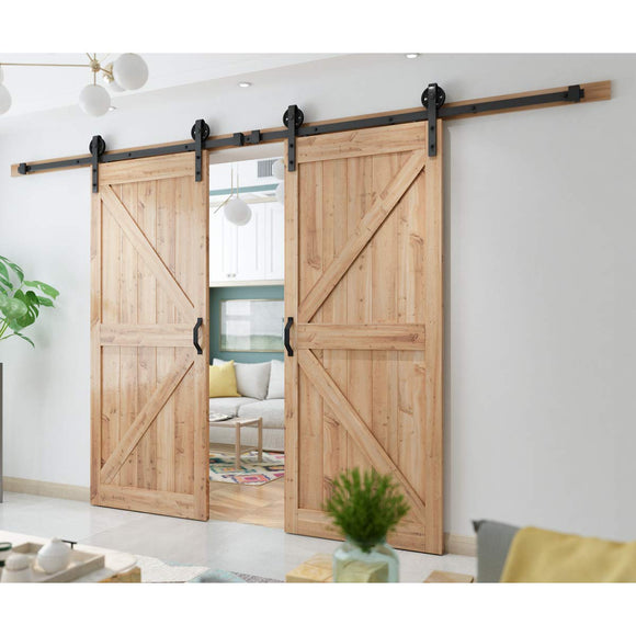 SMARTSTANDARD 6.6 FT Heavy Duty Sliding Barn Door Hardware Kit, Single Rail, Black, Super Smoothly and Quietly, Simple and Easy to Install, Fit 36