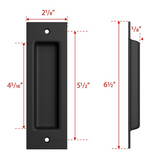 SMARTSTANDARD 2 Pack Flush Pull 6-1/2inch Matte Black Frosted Handle for Sliding Barn Door Hardware Finger Pull