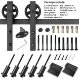 "6.6ft Heavy Duty Sliding Barn Door Hardware Kit, 6.6ft Single Rail, Black, (Whole Set Includes 1x Pull Handle Set & 1x Floor Guide) Fit 36""-40"" Wide DoorPanel (Bigwheel Hanger)"