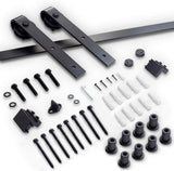 "8 FT Heavy Duty Sturdy Sliding Barn Door Hardware Kit, 8ft Single Rail, Black, (Whole Set Includes 1x Pull Handle Set & 1x Floor Guide) Fit 42""-48"" Wide Door Panel (J Shape Hanger)"