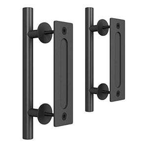"SMARTSTANDARD Heavy Duty 12"" Pull and Flush Barn Door Handle Set, Large Rustic Two-Side Design, for Gates Garages Sheds Furniture, Black Powder Coated Finish, Round, (Pack of 2)"