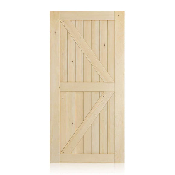SMARTSTANDARD 42in x 84in Sliding Barn Wood Door Pre-Drilled Ready to Assemble, DIY Unfinished Solid Cypress Panelled Slab, Interior Single, Natural (K-Frame Panel)