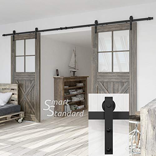 SmartStandard Heavy Duty Sturdy 13 FT Double Gate Sliding Barn Door Hardware Kit, Fit 36