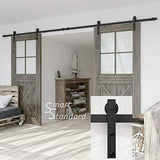 "SmartStandard Heavy Duty Sturdy 13 FT Double Gate Sliding Barn Door Hardware Kit, Fit 36""-40"" Wide Door Panel, Black, Super Smoothly and Quietly, Simple and Easy To Install, (J Shape Hangers)"