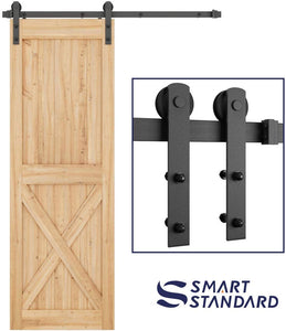 "SMARTSTANDARD 4ft Heavy Duty Sturdy Sliding Barn Door Hardware Kit -Smoothly and Quietly -Easy to Install -Includes Step-by-Step Installation Instruction Fit 24"" Wide Door Panel (I Shape Hanger)"