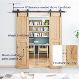 "6.6ft Heavy Duty Double Door Sliding Barn Door Hardware Kit-Smoothly and Quietly-Easy to Install-Includes Step-by-Step Installation Instruction Fit 20"" Wide Door Panel(J Shape Hanger)"