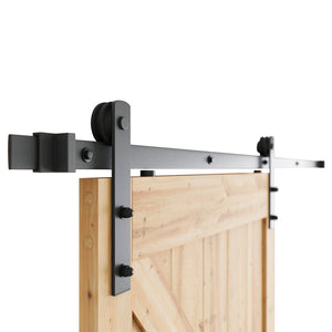 "6.6 FT Heavy Duty Sturdy Sliding Barn Door Hardware Kit, 6.6ft Double Rail, Black, (Whole Set Includes 1x Pull Handle Set & 1x Floor Guide & 1x Latch Lock) Fit 36""-40"" Wide Door Panel (I Shape Hanger)"