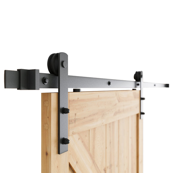 6.6 FT Heavy Duty Sturdy Sliding Barn Door Hardware Kit, 6.6ft Double Rail, Black, (Whole Set Includes 1x Pull Handle Set & 1x Floor Guide & 1x Latch Lock) Fit 36