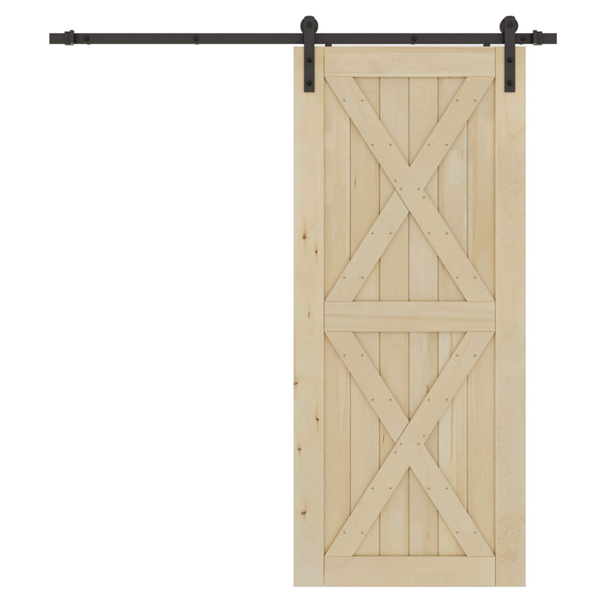 SMARTSTANDARD 36in x 84in Sliding Barn Wood Door Pre-Drilled Ready to Assemble, DIY Unfinished Solid Cypress Panelled Slab, Interior Single, Natural (X-Frame Panel)