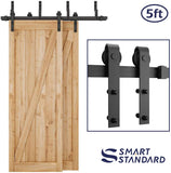 "SMARTSTANDARD 5ft Heavy Duty Bypass Double Door Sliding Barn Door Hardware Kit - Smoothly & Quietly -Easy to Install - Includes Step-by-Step Installation Instruction Fit 30"" Wide Door Panel (J Shape)"
