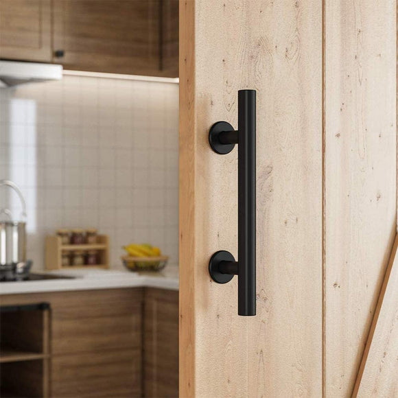 SMARTSTANDARD 10 Inch Sliding Barn Door Handle, Pull and Flush Hardware Set, Black Powder Coated Finish, Large Rustic Two-Side Design, Round