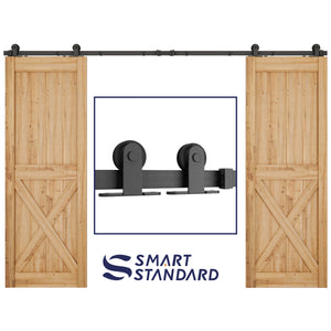"10ft Heavy Duty Sturdy Double Door Sliding Barn Door Hardware Kit - Fit 30"" Wide Door Panel(T Shape Hanger)"