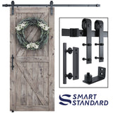 "6.6 FT Heavy Duty Sturdy Sliding Barn Door Hardware Kit, 6.6ft Single Rail, Black, (Whole Set Includes 1x Pull Handle Set & 1x Floor Guide) Fit 36""-40"" Wide Door Panel (J Shape Hanger)"