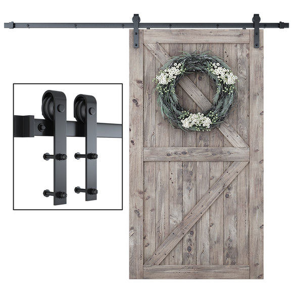 SmartStandard 8 Foot One-Piece Track Sliding Barn Door Hardware Kit - Smoothly and Quietly - Easy to Install - Includes Step-By-Step Installation Instruction -Fit 42