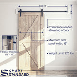 "SMARTSTANDARD 6ft Heavy Duty Sturdy Sliding Barn Door Hardware Kit -Smoothly and Quietly -Easy to Install -Includes Step-by-Step Installation Instruction Fit 36"" Wide Door Panel(J Shape Hanger)"