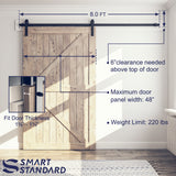 "SmartStandard 8 Foot One-Piece Track Sliding Barn Door Hardware Kit - Smoothly and Quietly - Easy to Install - Includes Step-By-Step Installation Instruction -Fit 42""- 48"" Door Panel (J shape)"