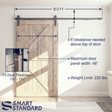 "8ft Soft Close Heavy Duty Sturdy Sliding Barn Door Hardware Kit - Simple and Easy to Install - Includes Step-by-Step Installation Instruction - Fit 42''-48"" Door Panel (J Shape Hangers)"
