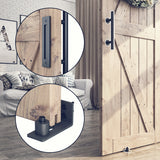 "6.6 FT Heavy Duty Sliding Barn Door Hardware Kit Single Rail, Black, Super Smoothly & Quietly, Simple & Easy To Install Fit 36""-40"" Wide DoorPanel (J Shape Hangers)"