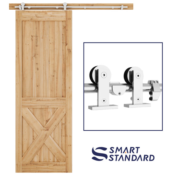SMARTSTANDARD 5 FT Top Mount Heavy Duty Sliding Barn Hardware Kit, Single Rail, Stainless Steel, Smoothly and Quietly, Simple and Easy to Install, Fit 30