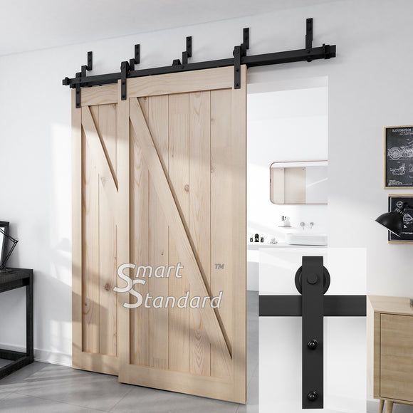 SMARTSTANDARD 8ft Bypass Sliding Barn Door Hardware Kit - Upgraded One-Piece Flat Track for Double Wooden Doors - Smoothly &Quietly - Easy to Install - Fit 48