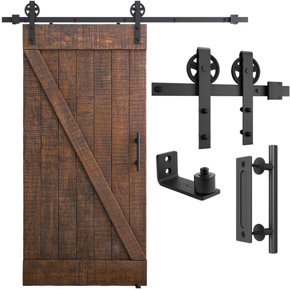 6.6FT Heavy Duty Sliding Barn Door Hardware Kit, 6.6FT Single Rail, Black, (Whole Set Includes 1x Pull Handle Set & 1x Floor Guide) Fit 36