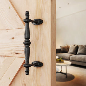 "comforthomi 14"" Pipe Barn Door Handle, Black Rustic Cast Iron Grab Bar, Industrial Bar Pull for Gate, Shed, Garage"