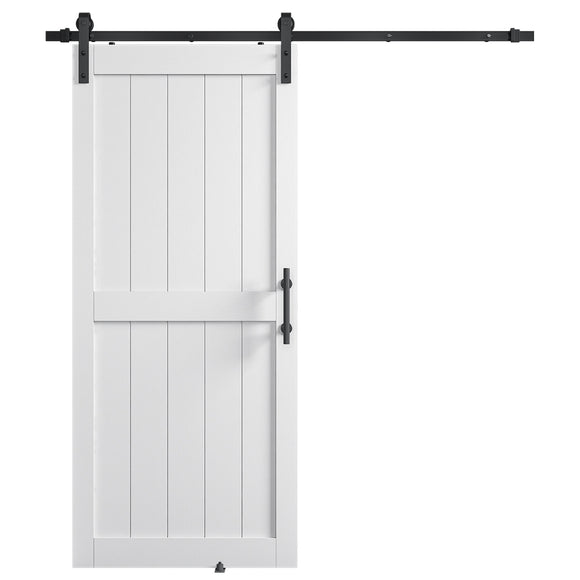 THLYNSAM 36in x 84in MDF Sliding Barn Door with 6.6ft Barn Door Hardware Kit & Handle, Pre-Drilled Holes Easy Assembly -Solid Wood Slab Inside Covered with Water-Proof PVC Surface, White, H-Frame